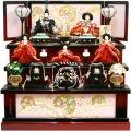 【雛人形】久月作 刺繍「よろこび雛」 収納式 三段飾り (S-29237)
