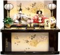 【雛人形】久月作 刺繍「よろこび雛」二人親王 コンパクト収納飾り (S-30200OU)