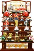 【雛人形】 久月作 「よろこび雛」木製 七段飾り(S-3282)