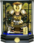 【五月人形】久月作 家紋「子供大将」 武者人形ガラスケース飾り(T53707)