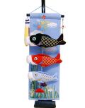 【五月人形】久月作 「室内 鯉のぼりタペストリー」吊るし飾り(TAK-04)