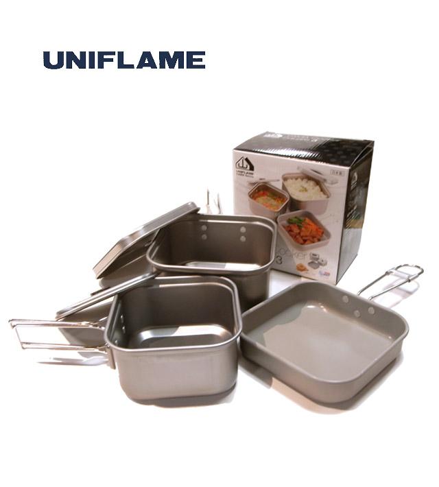 ユニフレーム/軽量アルミ食器【山クッカー 角型 3】携帯食器