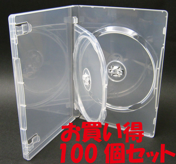 標準サイズ/15mm厚に2枚収納/フリップタイプMロックトールケース クリア 100個