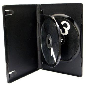3枚収納 DVDトールケース フリップ ブラック
