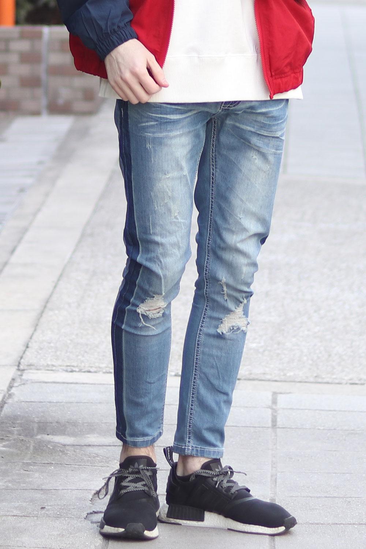 COOKJEANS クックジーンズ サイドライン デニムパンツ (Men's/メンズ)