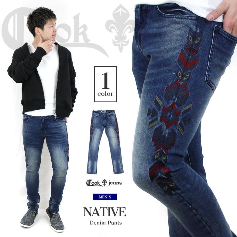 COOKJEANS クックジーンズ サイド ネイティブ 刺繍 デニム(men's/メンズ)