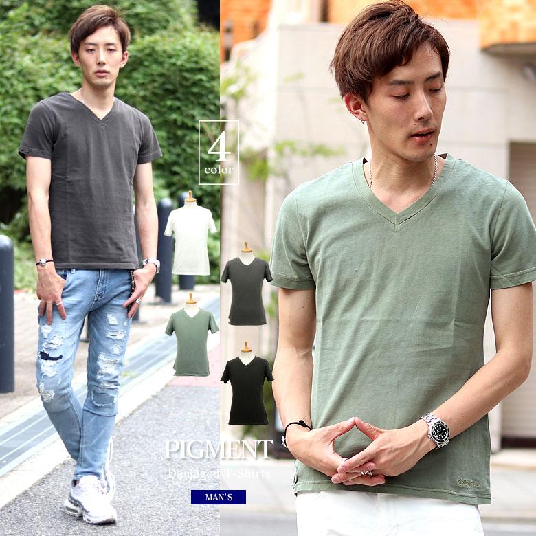 COOKJEANS クックジーンズ ピグメント 刺繍 半袖Tシャツ Vネック(men's/メンズ)
