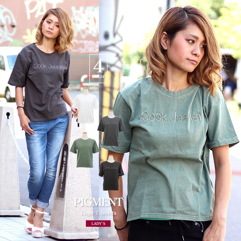 COOKJEANS クックジーンズ ピグメント ロゴ 刺繍 半袖Tシャツ(Lady's/レディース)