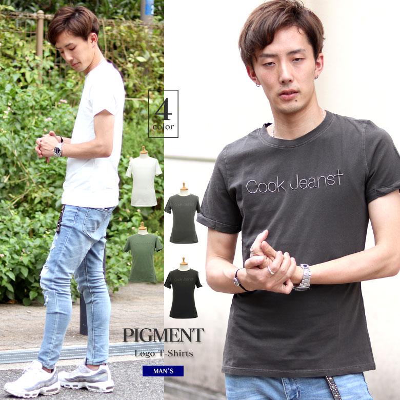COOKJEANS クックジーンズ ピグメント ロゴ 刺繍 半袖Tシャツ クルーネック(men's/メンズ)