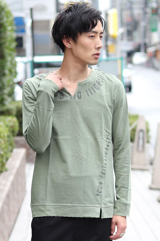 COOKJEANS クックジーンズ ピグメント ロンT メンズ 長袖 Tシャツ キーネック(men's/メンズ)