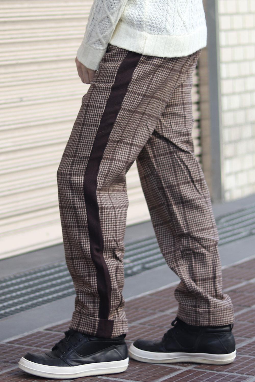 COOKJEANS クックジーンズ 千鳥 グレンチェック チェック柄  ワイド ライン パンツ(men's/メンズ)