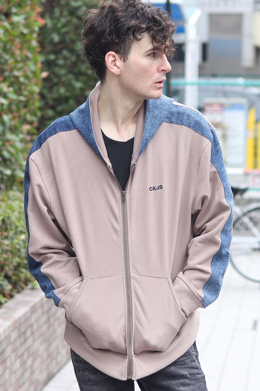 COOKJEANS クックジーンズ 袖ライン デニムコンビ ジップ パーカー (Men's/メンズ)