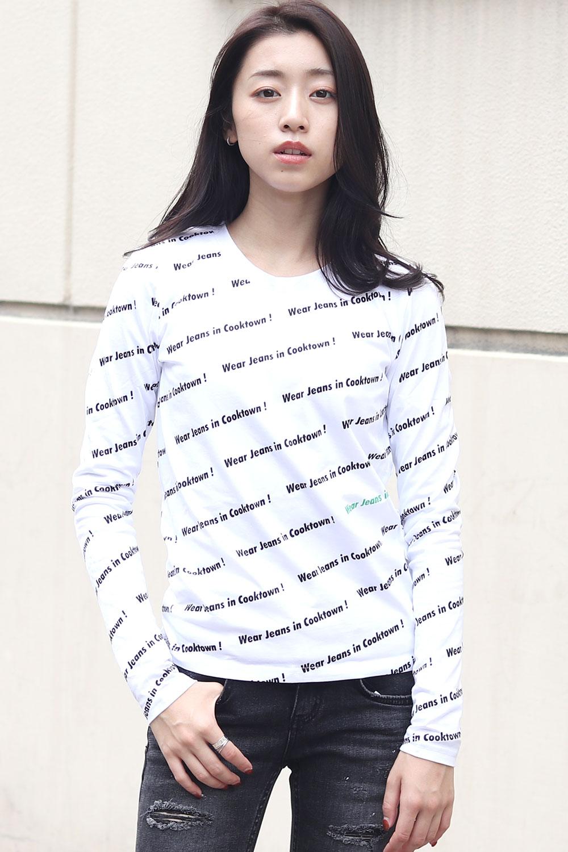 COOKJEANS ロゴ総柄 ベア天竺 長袖 Tシャツ (Lady's/レディース)