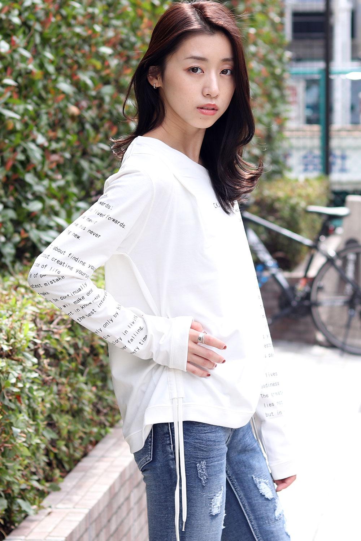 COOKJEANS 袖プリント ビッグサイズ 長袖 Tシャツ (Lady's/レディース)