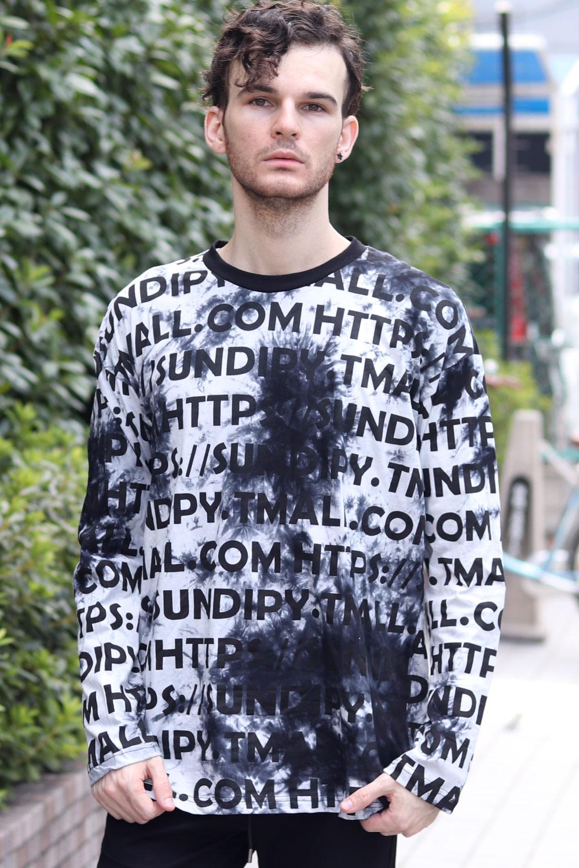 COOKJEANS タイダイ ロゴプリント 総柄 長袖 Tシャツ(Men's/メンズ)