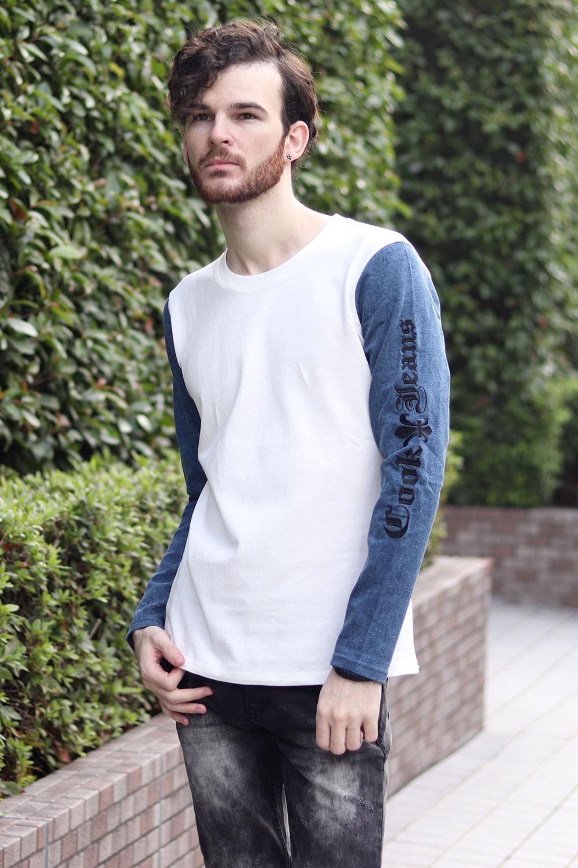 Cook jeans クックジーンズ 切り替え デニム 天竺 コンビ ロンT(Men's/メンズ)
