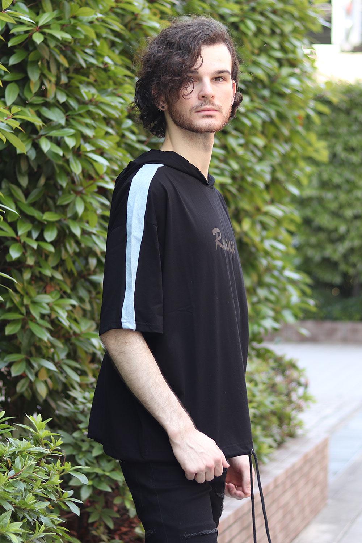 COOKJEANS クックジーンズ デニム袖ライン フードTシャツ(Men's/メンズ)
