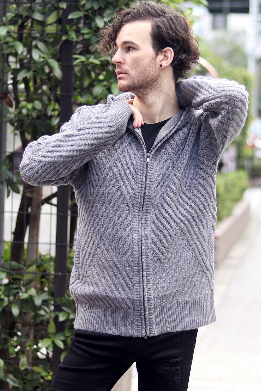 COOKJEANS クックジーンズ 柄編み ニット ジップアップ パーカー(Men's/メンズ)