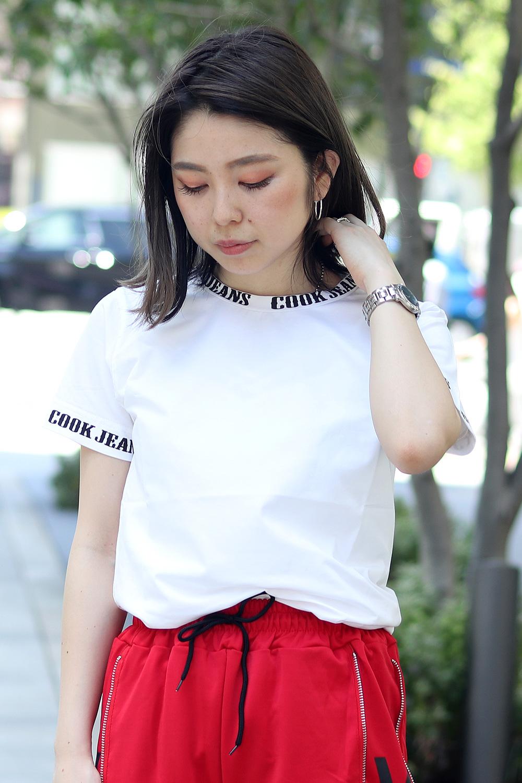 COOKJEANS ロゴ ベア天竺 半袖 Tシャツ (Lady's/レディース)