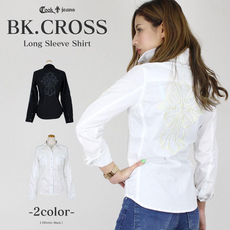 COOKJEANS クックジーンズ バック クロス リリー 刺繍 長袖 シャツ (Lady's/レディース)