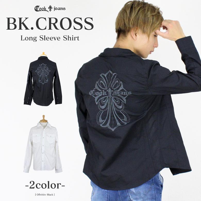 COOKJEANS クックジーンズ バック クロス リリー 刺繍 長袖 シャツ (men's/メンズ)
