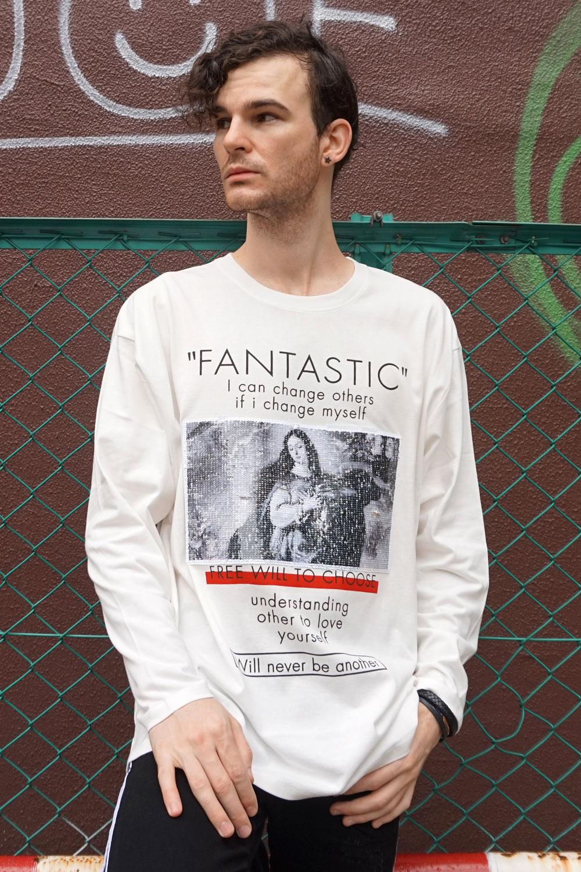Cook jeans クックジーンズ スパンコール プリント ロンT 長袖 Tシャツ(Men's/メンズ)