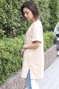 BACKS バックス ジップ ロング丈 半袖 Tシャツ (Lady's/レディース)