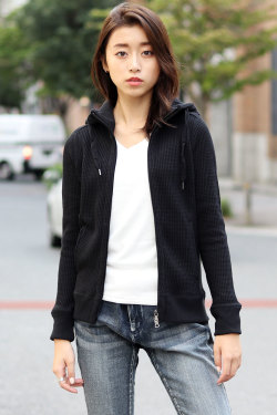 COOKJEANS クックジーンズ ワッフルジップアップパーカー(Lady's/レディース)