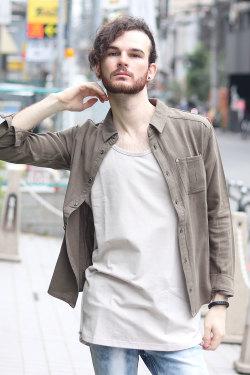 COOKJEANS クックジーンズ レーヨンリネン綿麻 長袖シャツ(Men's/メンズ)