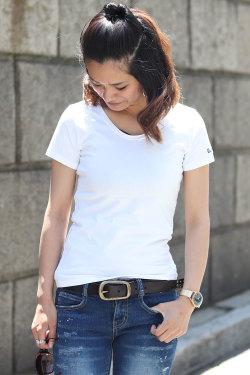 COOKJEANS クックジーンズワンポイントロゴ刺繍 Tシャツ(Lady's/レディース)