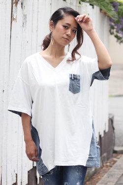 COOKJEANS クックジーンズ 切り替え ポケット Tシャツ (Lady's/レディース)