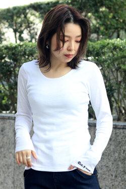 COOKJEANS クックジーンズ フライス 長袖Tシャツ ロンT Uネック(lady's/レディース)