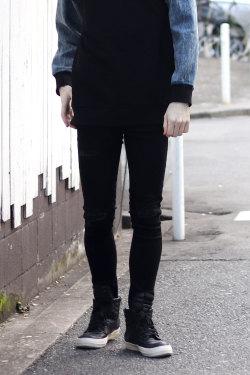COOKJEANS クックジーンズ ベリー ジップ ストレッチ パンツ ダメージ メンズ レディース (Men's/メンズ)