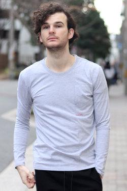 COOKJEANS クックジーンズ 切り替え ロンT 長袖 Tシャツ ワンポイント (Men's/メンズ)