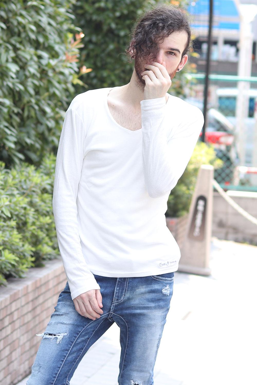 COOKJEANS クックジーンズ フライス 長袖Tシャツ ロンT Vネック(men's/メンズ)