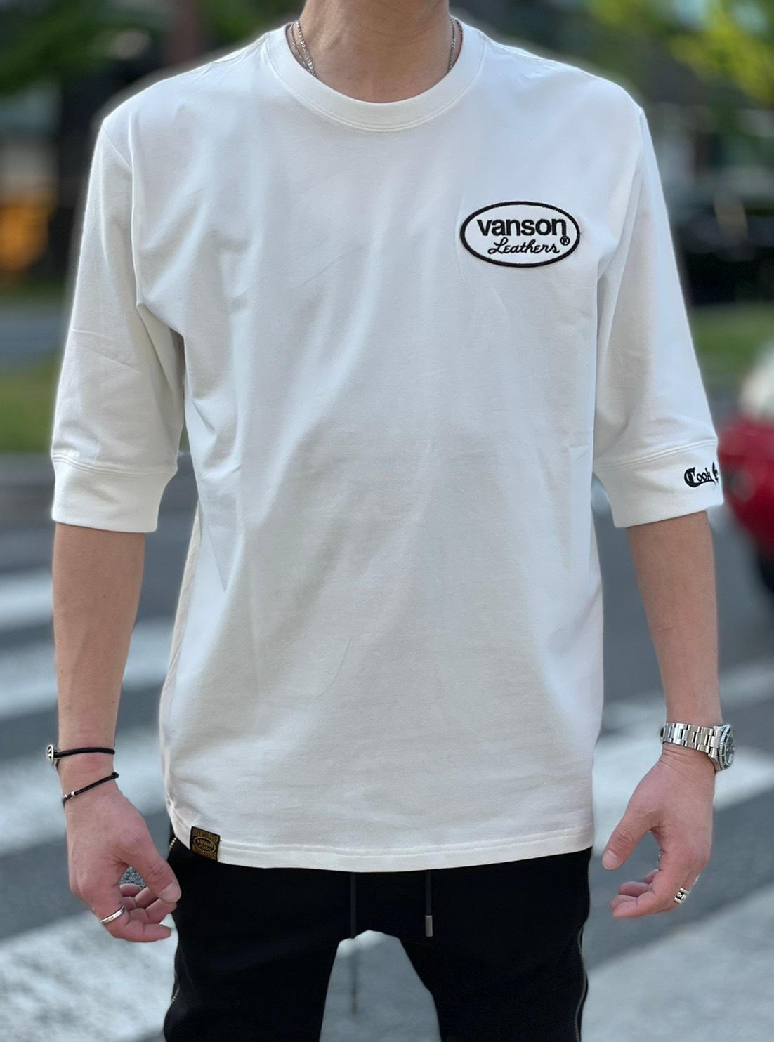 VANSON×COOKJEANSコラボ 5分袖Tシャツ