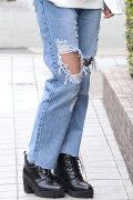 COOKJEANS クックジーンズ ワイド デニム ダメージ (Lady's/レディース)