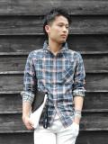 【COOKJEANS/クックジーンズ】Wガーゼチェックシャツ(men's/メンズ)