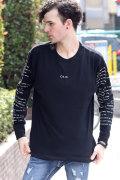 COOKJEANS 袖プリント ビッグサイズ 長袖 Tシャツ(Men's/メンズ)