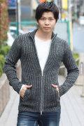 COOKJEANS クックジーンズ リブ編み ニット スタンドネック ジャケット(men's/メンズ)