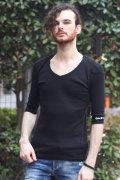 【COOKJEANS/クックジーンズ】フライス 5分袖 7分袖 UネックTシャツ(men's/メンズ)