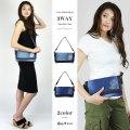 【COOKJEANS/クックジーンズ】クロス 刺繍 ショルダー バック カバン 鞄 ヴィンテージ デニム クラッチバック ハンドバック 3WAY BAG(Lady's/レディース)