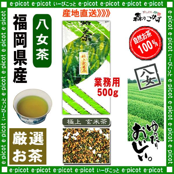 Y1【八女茶】 極上 玄米茶 ★ 〔業務用 500g〕 ◆ 福岡県-日本茶 -厳選の緑茶