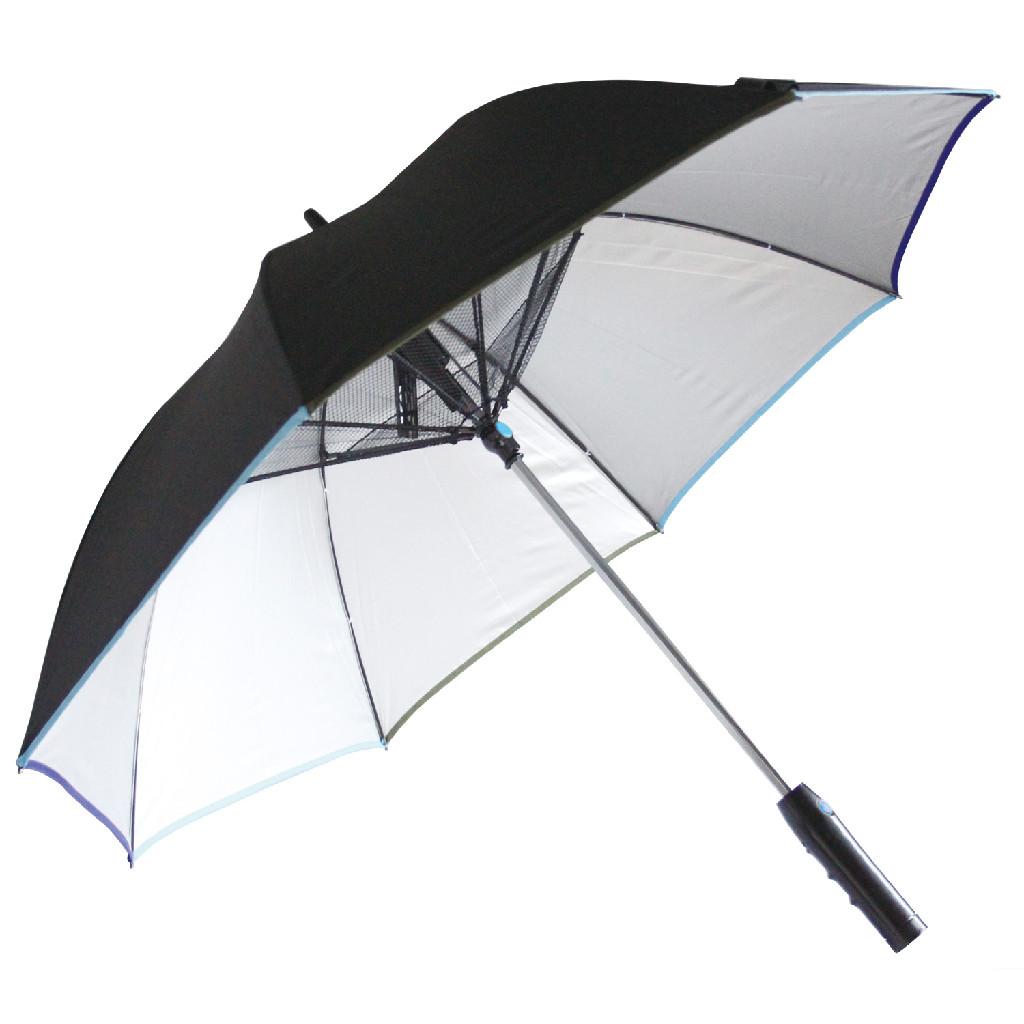 SPICE OF LIFE 扇風機付き 日傘 ファンファンパラソル シルバーコーティング 晴雨兼用 電池式 HHLG9120 ブラック