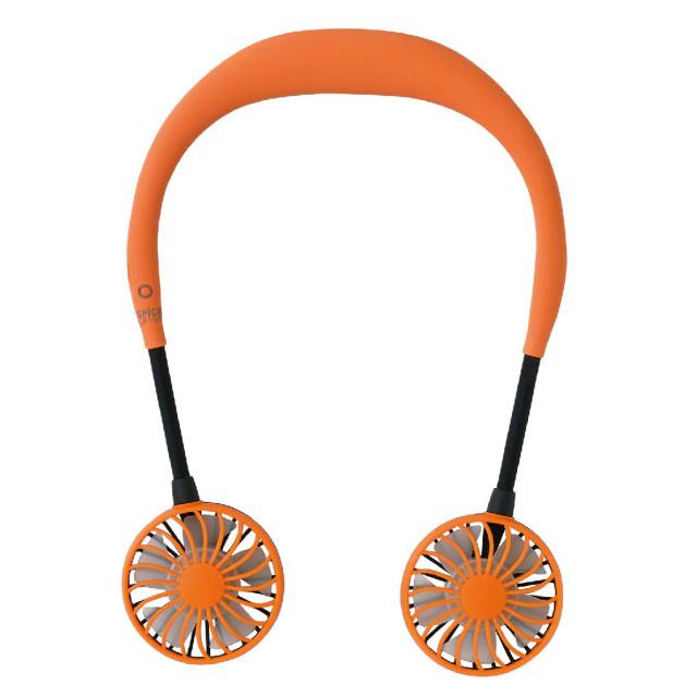 WFan ダブルファン/スパイス/正規品/ダブルで涼しいハンズフリー扇風機/ミニ扇風/ポータブル扇風機/首掛け扇風機/USB扇風機/オレンジ
