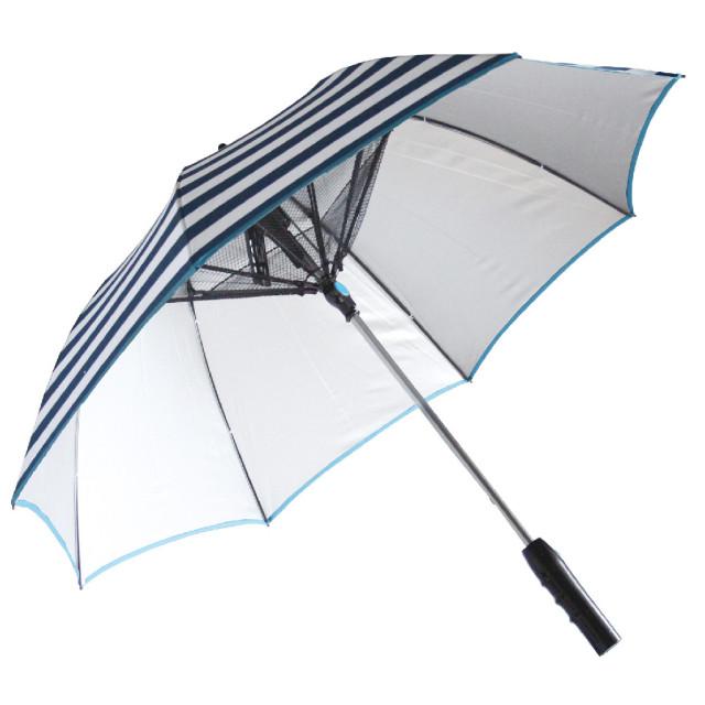 SPICE OF LIFE 扇風機付き 日傘 ファンファンパラソル シルバーコーティング 晴雨兼用 電池式 HHLG9120 ブルーボーダー