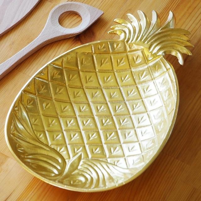 パイナップル皿 ゴールド 約34cm