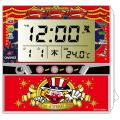 ジャグラー 電波クロック レッド / 置き時計 温度計 カレンダー アラーム パチスロ スロット キャラクター グッズ