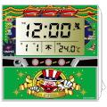 ジャグラー 電波クロック グリーン / 置き時計 温度計 カレンダー アラーム パチスロ スロット キャラクター グッズ