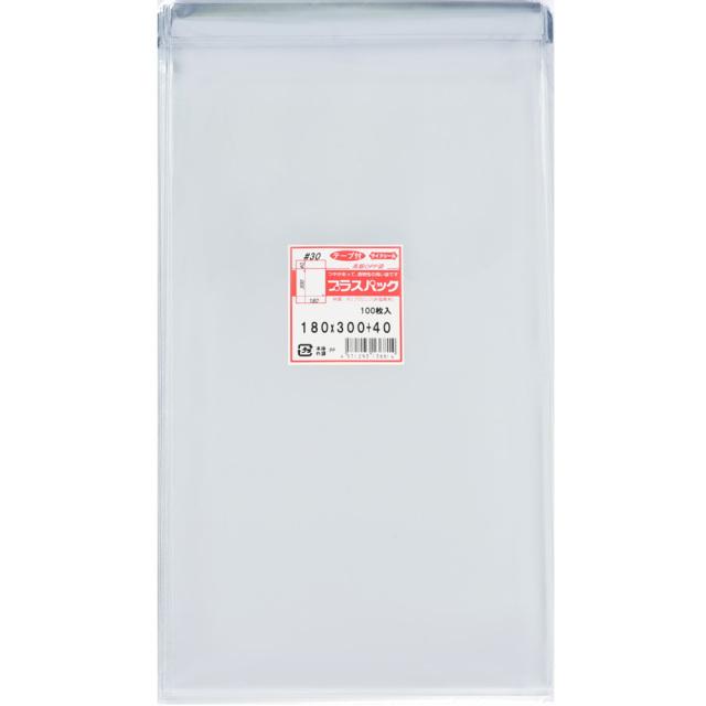 OPP袋 横180x縦300+40mm テープ付き (100枚) 30# プラスパック T321
